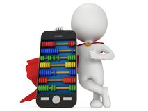 Супергерой около smartphone с абакусом Стоковые Фотографии RF
