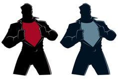 Супергерой под силуэтом крышки случайным иллюстрация штока