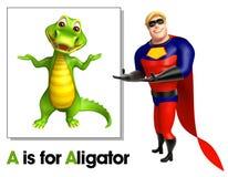 Супергерой указывая аллигатор бесплатная иллюстрация