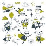 супергерой alien кот шаржа избегает вектор крыши иллюстрации иллюстрация штока