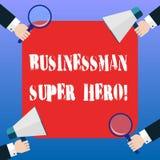 Супергерой Businessanalysis текста почерка Смысл концепции принимает риск дела или рук анализа Hu предприятия по каждому иллюстрация вектора