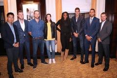 Суперзвезды тенниса во время пресс-конференции перед событием тенниса годовщины решающего сражения BNP Paribas 10th на гостинице  Стоковые Изображения RF