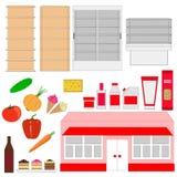 супермаркет Внешние витрины магазина и продукты Стоковые Изображения