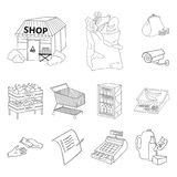 Супермаркет и оборудование конспектируют значки в собрании комплекта для дизайна Приобретение сети запаса символа вектора продукт иллюстрация вектора