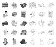Супермаркет и оборудование mono, значки плана в установленном собрании для дизайна Приобретение сети запаса символа вектора проду иллюстрация вектора