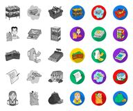 Супермаркет и оборудование mono, плоские значки в установленном собрании для дизайна Приобретение сети запаса символа вектора про бесплатная иллюстрация