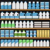 супермаркет Shelfs Shelves с продуктами и пить вектор иллюстрация вектора