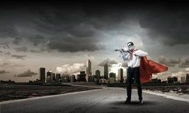 Супермен с скрипкой Стоковые Изображения