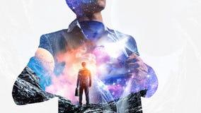 Супер бизнесмен и космос в его комоде Стоковая Фотография