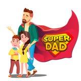 Супер вектор папы Папа любит супергерой с детьми Изолированный плоский шарж Illudtration иллюстрация вектора