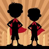 Супер дети 2 мальчика иллюстрация вектора