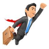 супер летание бизнесмена 3D с накидкой и портфелем Стоковое фото RF