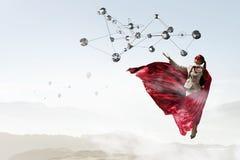 Супер женщина в небе Стоковые Фотографии RF