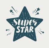 Супер звезда, типографский дизайн Иллюстрация вектора литерности иллюстрация штока