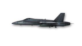 Супер звуковой двигатель, военный самолет на белой предпосылке, взгляде со стороны Стоковое Изображение