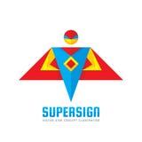 Супер знак - vector концепция шаблона логотипа в плоском стиле Характер человека людей Символ героя Супер значок детеныши неба че Стоковое фото RF