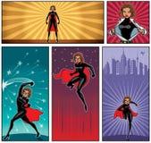 Супер знамена 5 героини иллюстрация штока