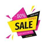 Супер знамя продажи на красочной геометрической предпосылке Стоковые Фото