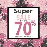 Супер знамя продажи, плакат с тропическими экзотическими листьями бесплатная иллюстрация