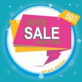 Супер знамя стрелки продажи Большая продажа, зазор 50  также вектор иллюстрации притяжки corel Стоковое Изображение