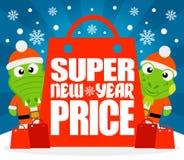 Супер карточка цены Нового Года с аллигатором и игуаной иллюстрация вектора