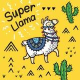 Супер лама Милая карта вектора ламы мультфильма иллюстрация штока