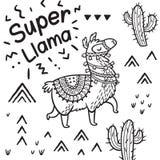 Супер лама Печать вектора ламы мультфильма чернил иллюстрация штока