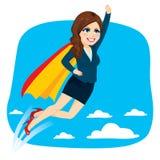 Супер летание бизнес-леди иллюстрация вектора