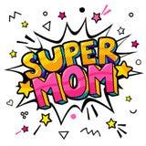Супер мама в стиле искусства шипучки для счастливого торжества дня матери s бесплатная иллюстрация