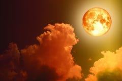 супер ночное небо облака силуэта задней части луны полной крови бесплатная иллюстрация