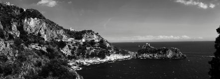 Супер панорамный ландшафт побережья Амальфи Стоковое фото RF