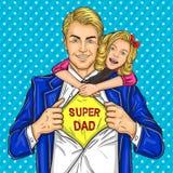 Супер папа и его любимая дочь иллюстрация вектора
