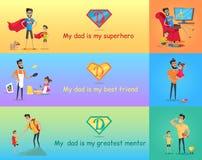 Супер папа с его детьми иллюстрация штока