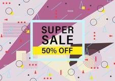 Супер предпосылка продажи в геометрическом стиле Мемфиса Стоковые Фотографии RF