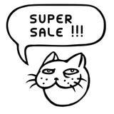 Супер продажа Смешная голова кота Облако речи также вектор иллюстрации притяжки corel Стоковые Изображения RF