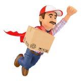 супер работник доставляющий покупки на дом 3D с коробкой Стоковые Фотографии RF