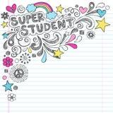 Супер студент назад к Doodles Vecto школы схематичным Стоковая Фотография