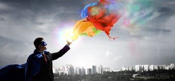 Супер человек в небе Мультимедиа Стоковая Фотография