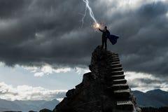 Супер человек в небе Мультимедиа Стоковое Фото