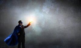 Супер человек в небе Мультимедиа стоковое фото rf