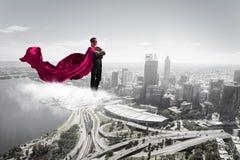 Супер человек в небе стоковые изображения rf