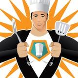 Супер шеф-повар с вилкой и шпателем иллюстрация штока