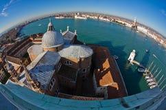 Супер широкий панорамный взгляд Венеции от церков Сан Giorgio Maggiore Стоковая Фотография