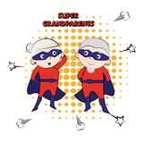 Супер grandpa, конспект шаржа, иллюстрация Стоковые Изображения RF