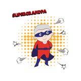 Супер grandpa, конспект шаржа, иллюстрация Стоковое Фото