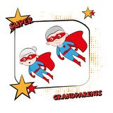Супер grandpa, конспект шаржа, иллюстрация Стоковое Изображение RF