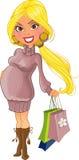 супоросая женщина фиолета свитера покупкы иллюстрация вектора