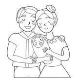 Супруг и жена с младенцем на контуре влюбленности рук милом иллюстрация штока
