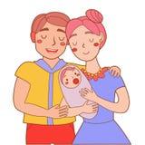 Супруг и жена с счастливым младенца милое бесплатная иллюстрация