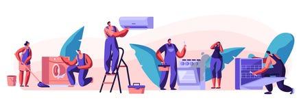 Супруг на час, характеры ремонтных услуг радостные мужские в равномерной деятельности с аппаратурами фиксируя сломленные методы д иллюстрация вектора